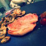 medaglioni di prosciutto , mostarda di frutta e funghi trifolati